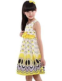 vestido chica Switchali bebe Niña Bowknot Cinturón Sin mangas Burbuja Pavo real floral princesa Vestido de fiesta moda Ropa para chica Nuevo verano Tutú vestido de muchacha