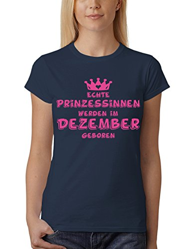 clothinx Damen T-Shirt Prinzessinnen werden im Dezember geboren Navy