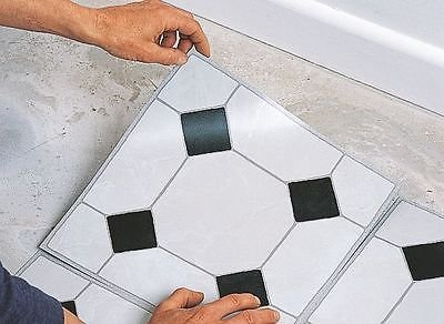 Generic LQ. 1. LQ. 6396. LQ Loor Ti Vinyl Boden selbst eine Selbstklebende gepaart Fliesen Badezimmer Küche 4Stück DIY ITE Küche schwarz weiß Effekt NV 1001006396-cnuk22 (Schwarz-vinyl-fliesen)