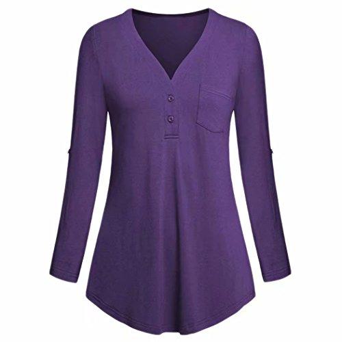 Damen Tops Daoroka Damen 3/4-Roll-Up-Ärmel V-Ausschnitt Taschen Knopf Split Casual Lose Mode Solide Herbst Bluse Hemd L violett - Mutterschaft Kleid Plus Größe Rosa