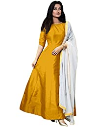 NEW DESIGNER YELLOW COLOUR PLAIN SILK GOWN DRESS MATERIAL FREE SIZE SALWAR SUIT PARTY WEAR LEHENGA FOR GIRLS AND...