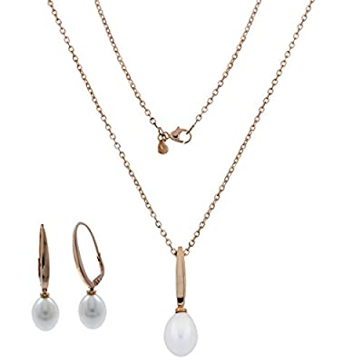 Parure en or rose 14 carats avec perles ovales - Gioiello Italiano