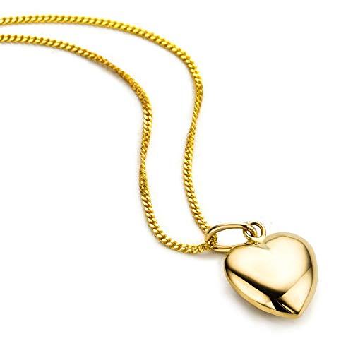 Orovi Kette - Halskette Damen Gelbgold 9 Karat / 375 Gold Kette mit Herz 45 cm