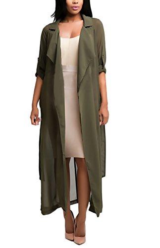 Damen Cardigan Chiffon Lang Vintage Elegant Festlich Classics Langarm Revers Locker Einfarbig Fashion Casual Sommer Herbst Mantel Classic Trenchcoat Outerwear Tops