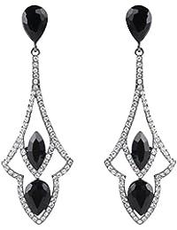 Ever Faith® - Negro-Tono Cristal Austriaco Vintage Estilo Art Deco Gotas de Lágrimas Pierced Colgado Pendientes Negro N06255-3