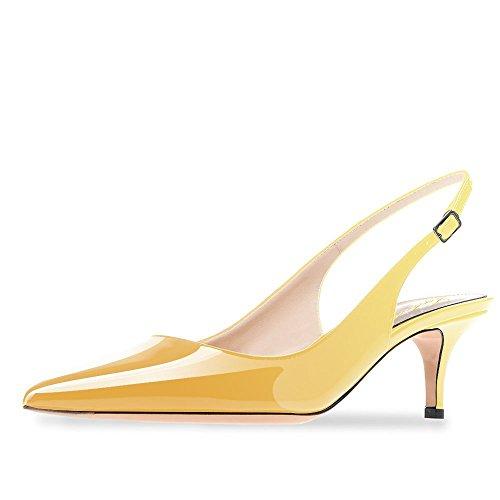 en Heel Spitze Patent Slingback Kleid Pumps Schuhe für Party Patent Gelb Größe 38 EU ()