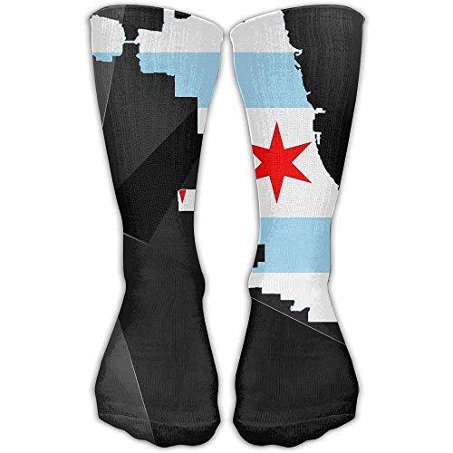 Flag Map Of Chicago 3D Printing Anti-odor Running Long Sock Athletic Socks