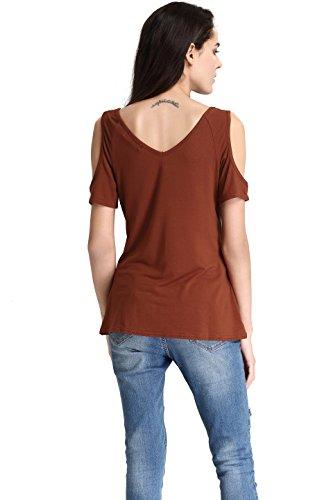 Abollria Damen T-Shirt Kurzarm Sommer Tops V-Ausschnitt mit gekreuzten Kragen Schulter Cutouts Stretch Oberteile T-Shirt Kaffeebraun