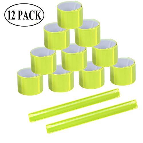 Ouinne 12 Stück Reflektorbänder Schnapparmbänder Klatscharmband Sicherheitsband für Jogger u