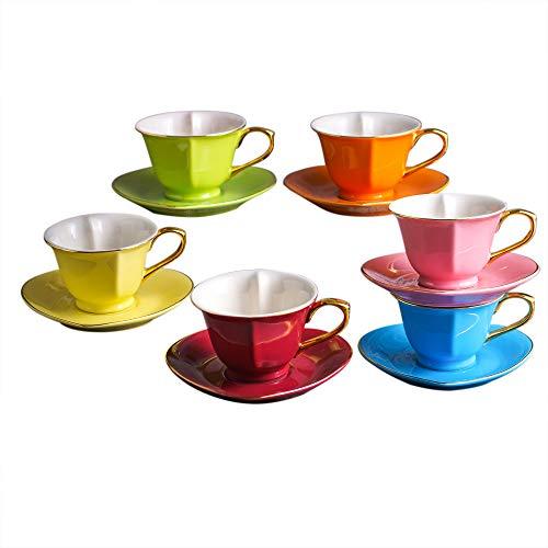 ARTVIGOR Porzellan Kaffeeservice, Bunt 12 teilig Kaffee Set, mit je 6 Kaffeetassen 150 ml und Untertassen, Herz-Design, Geschenkverpackung für Weihnachten