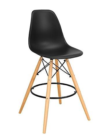 KAYELLES Tabouret de bar DSW SLEO - Chaise de Bar Scandinave (Noir)