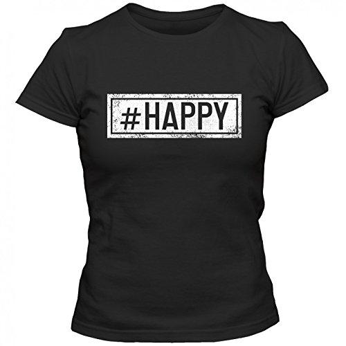 #happy T-Shirt | Sprüche-Shirt | #hashtag | Statement | Frauen | Shirt © Shirt Happenz Schwarz (Deep Black L191)