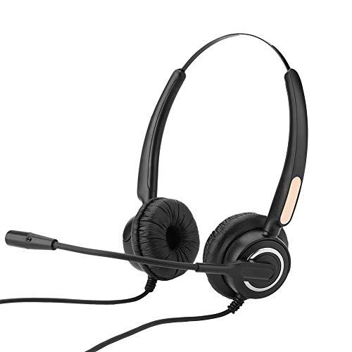 VBESTLIFE Telefon Headset,RJ9 Call Center Headset mit Noise Cancelling Mic,Lautstärkeregelung und Stummschaltung (Schnurgebundenes Schnurloses Telefon Headset)