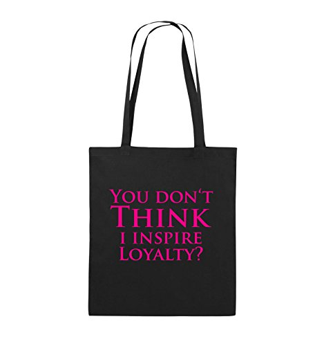 Comedy Bags - YOU DON'T THINK - NARCOS - Jutebeutel - lange Henkel - 38x42cm - Farbe: Schwarz / Pink Schwarz / Pink