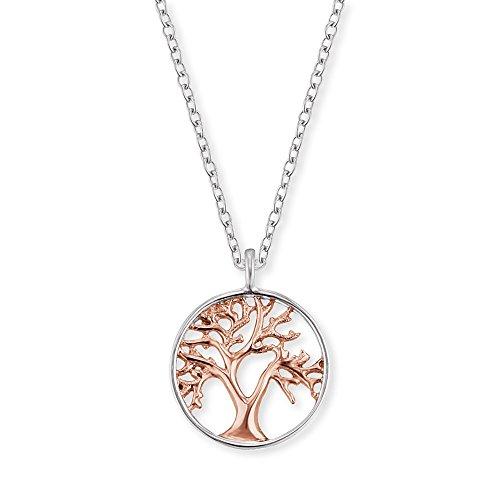 Engelsrufer Baum des Lebens Kette mit Anhänger für Damen Bicolor Rhodiniert und Rosévergoldet 925er-Sterlingsilber Länge 40 cm + 4 cm