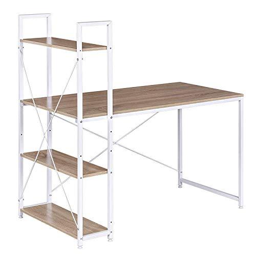 WOLTU TSB01whe Table de Bureau avec étagère de Rangement Bureau d'ordinateur Stable et Robuste env. 120x64x120 cm,Blanc+Chêne Clair
