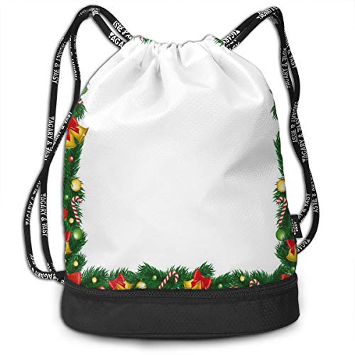 Mess-cane (LULABE Printed Drawstring Backpacks Bags,Xmas Themed Garland with Candy Canes Ribbons Colorful Baubles and Bells Winter,Adjustable String Closure)