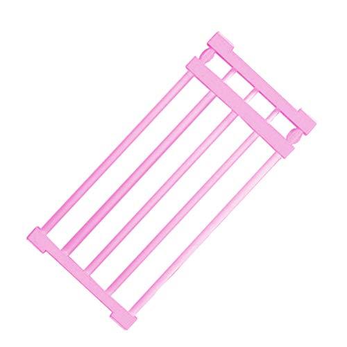 Yardwe Verstellbares Aufbewahrungsgestell Ausziehbares Trennfach für Garderobenschrank Bücherregal Fach zum Sammeln von Bad (Pink) 75-120...