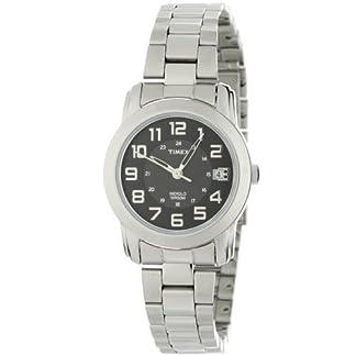 Timex T2N433PF – Reloj analógico de cuarzo para mujer con correa de acero inoxidable, color plateado