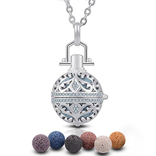 EUDORA Harmony Ball Halsketten für Frauen Aromatherapie Kette Damen Anhänger Aroma Oel Diffuser Charme Schmuck Geschenk Natürlicher Lavastein Perlen Kette 7 ()