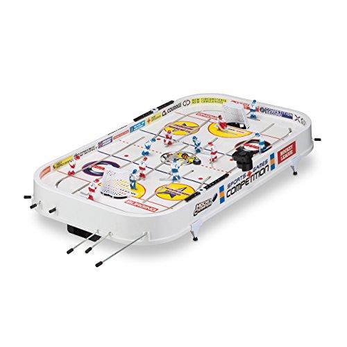 Relaxdays Eishockey Tischspiel, Tisch Eishockeyspiel, für Kinder und Erwachsene, ab 3 Jahre, B x T: 96 x 51 cm, weiß (Eishockey-torwart-sets)