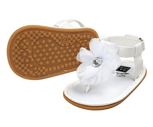 Happy Cherry Baby Mädchen Sandalen Sommer Kleinkind Schuhe PU Leder 11cm Innenlänge Krabbelschuhe Rutschfest Weiche Sohle Lauflernschuhe Babyschuhe mit Blumen (Farbe Größe wählbar) Weiß
