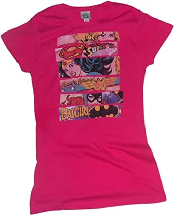 Three Of A Kind -- Supergirl - Wonder Woman - Batgirl Crop Sleeve Fitted Juniors T-Shirt, Small