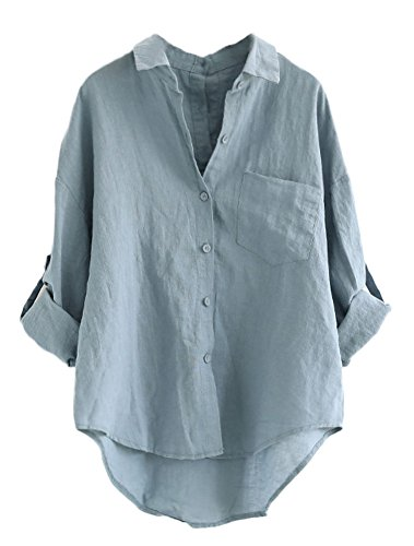 MatchLife Damen Leinen Blusen Elegant Langarm Freizeit Oberteil Lose Langarmshirt V-Ausschnitt Tunika Sommer T-Shirt Top