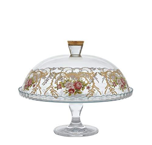 Glaskristall Luxus-Glaskuppel mit echten 24 Karat Gold/Blumen-Details (Gold Mini-kuchen-sockel)