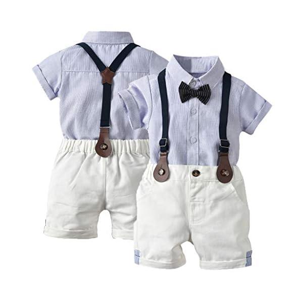 Ropa Bebé Niño Verano, K-youth Conjunto de Ropa para Niños Bautizo Ropa Bebe Recien Nacido Niño Camiseta Mangas Corta… 1