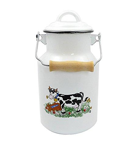 Milchkanne DEKOR KUH 2 Liter mit Deckel und Tragegriff, Emaille weiß mit Kuhmotiv