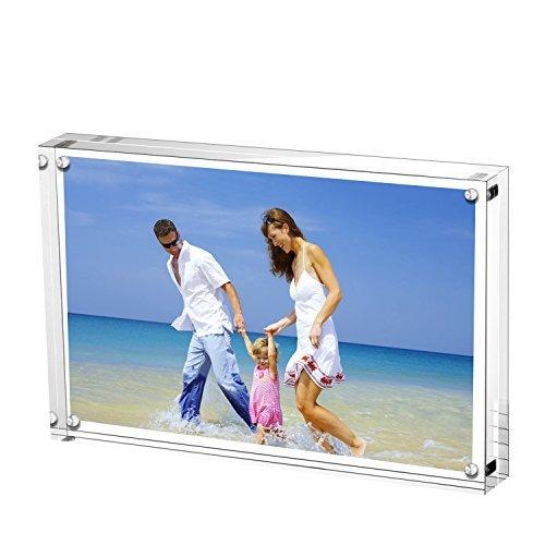 e, ACRYI Foto-Bilderrahmen,Haelt 13X18cm Fotos, 10mm+10mm Dicker Transparent und Rahmenlos -Transparent ()