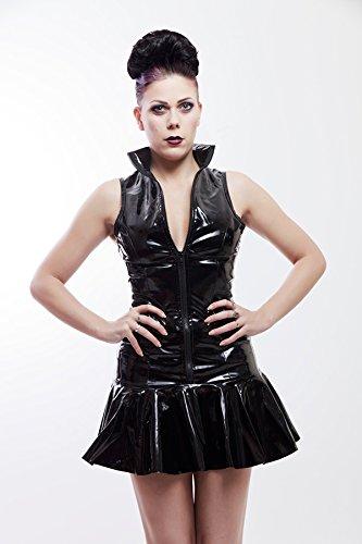 Schwarz PVC Mini Kleid Gr. M - 4
