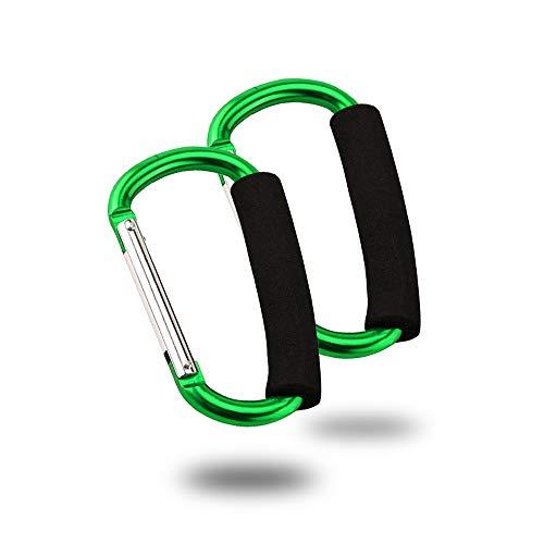 Kinderwagenhaken Clips, widerstandsfähiger Mehrzweckhaken, Mommy Kinderwagen Aufbewahrungstasche Haken Einkaufstasche Spring Snap Keychain Clip-Haken D-Ring-Federclip 2er Pack(grün) 82-mm-snap