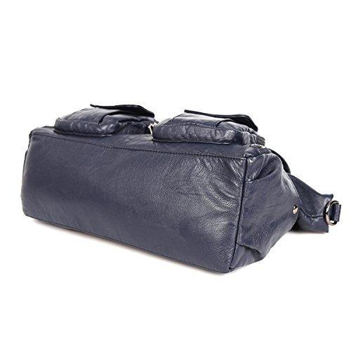 21KBARCELONA  Top con zip multi tasche Borse Lavato Borse Borse a tracolla in pelle XS160735 Blu