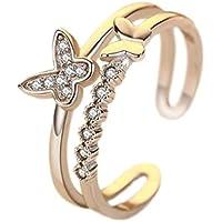Hosaire Anillo de Plata de Sencillo Mariposa Las mujeres de moda de Apertura Metal-Ajustable