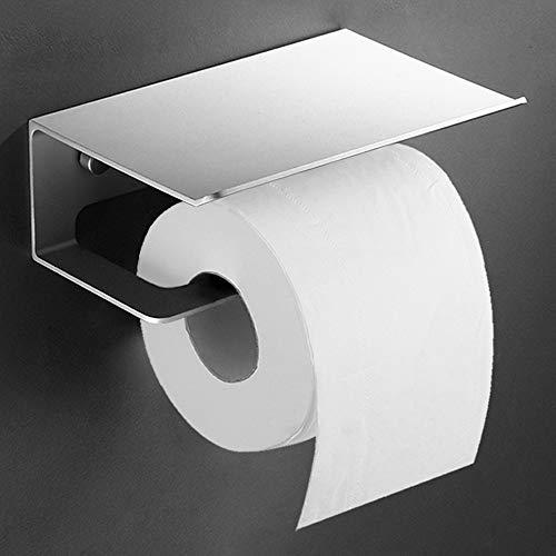 ecooe Toilettenpapierhalter mit großer Ablage Klopapierhalter aus matt Metall WC Papierhalter Rollenhalter für Badzimmer Halterung für Toilettenpapier