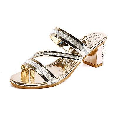 Sommer Schuhe Damen Sandalen Kleid Lässig-PU-Blockabsatz-Komfort-Gold Schwarz Silber Black