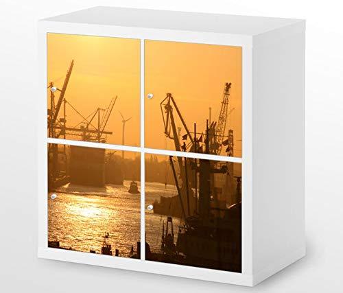 Set Möbelaufkleber für Ikea Kallax 4 Fächer/Schubladen Hamburger Hafen Sonnenaufgang Kat15 Hamburg Skyline Aufkleber Möbelfolie sticker (Ohne Möbel) Folie 25H342