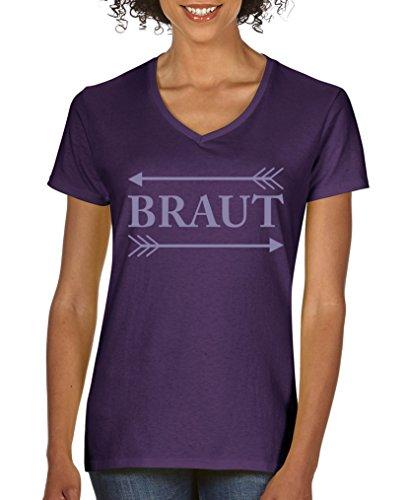 Comedy Shirts - Braut Pfeile - Damen V-Neck T-Shirt - Lila / Violett Gr. L (Pfeil Adidas)