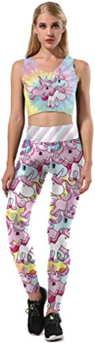 Belsen - Leggings - para mujer multicolor Unicornio Large