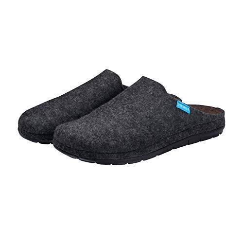 Simba Akupressur-Hausschuhe aus echter Wolle für Herren, Grau, 47 | Höchster Komfort | Reflexzonen