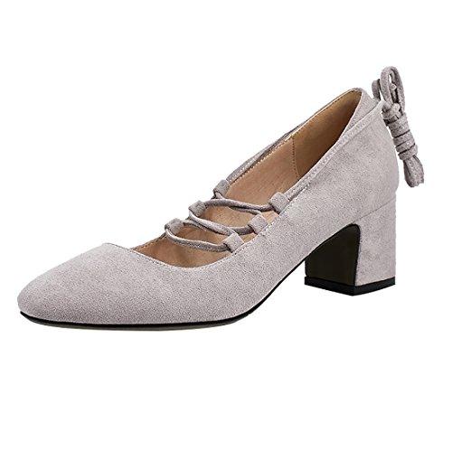 UH Damen Chunky Pumps mit Schnüren und Blockabsatz Square Toe Bequeme Schuhe