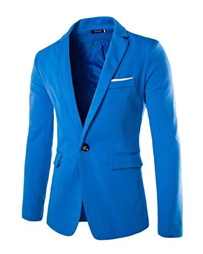 EOZY Blazer Homme Slim Fit Laine Moulant Veston à Revers Pochette Bouton Bleu