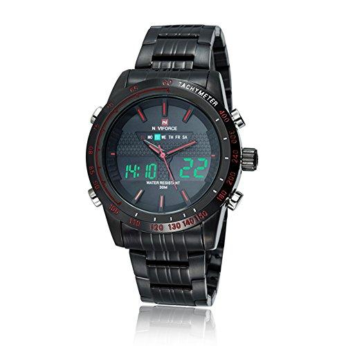 neotrix naviforce Herren Armbanduhr, Edelstahl, Analog und Digital, LED, bis 30m Wasserdicht, Schwarz und Rot