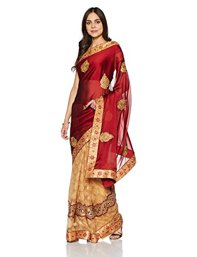 Womanista Women's Embroidered Satin Saree with Blouse Piece (FS9322-Rust & Beige-Free Size)