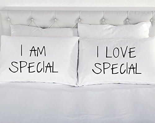 i-am-special-i-love-special-bianco-coppia-di-federe-per-cuscini-coppia-di-federe-per-letto-confezion
