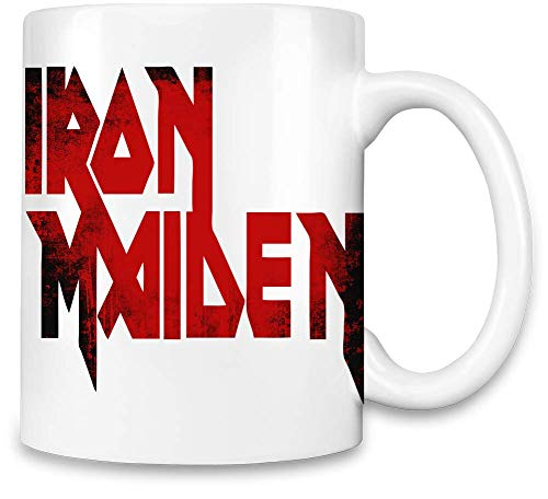 Iron Maiden Red Grunge Logo - Iron Maiden Red Grunge Logo Unique Coffee Mug | 11Oz Ceramic Cup| The Best Way to Surprise Everyone On Your Special Day| Custom Mugs by Iron Maiden -