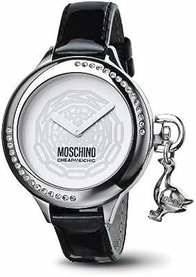 Moschino MW0046 - Reloj de mujer de cuarzo, correa de piel color negro