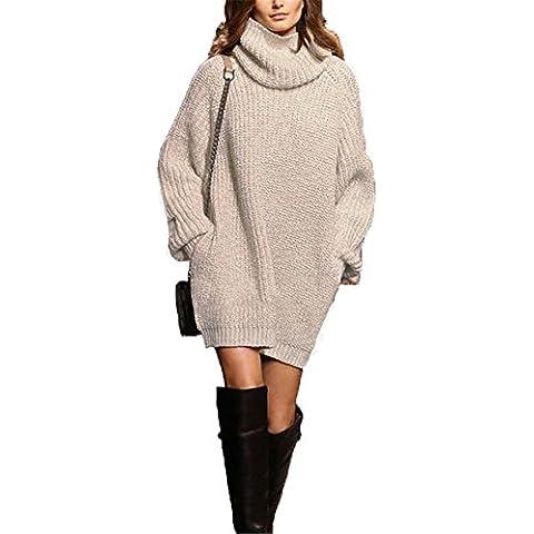 CRAVOG Mujer Jerseys de Alta Cuello Vestidos de Punto Suelto Suéter Faldas Largas